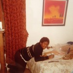 1982 - Sal doing homework with his horn in tow.